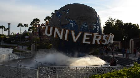 universal studios : ORLANDO, USA - MARCH 25, 2014: Rotating sphere. Stock Footage