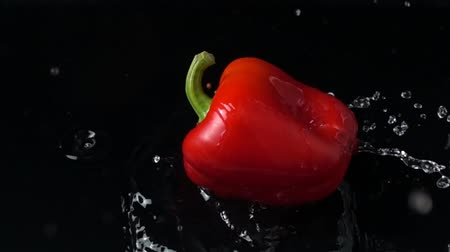 capsicum : Falling sweet red pepper. Slow motion.