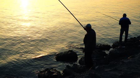 rúd : The fisherman catches fish. Slow motion. Stock mozgókép