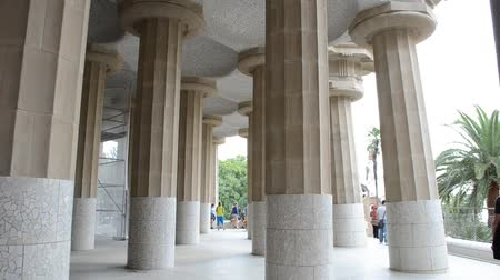 modernist : Park Guell, a municipal garden designed by Antoni Gaudi. Built in 1900 - 1914. Ceiling of the pillars in Guell in Barcelona - Spain.