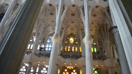 espana : Interior of Sagrada Familia, Barcelona. Stock Footage