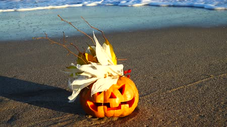jack olantern : Spooky halloween pumpkin. Shooting on the beach. Sea and waves. Shooting in October.