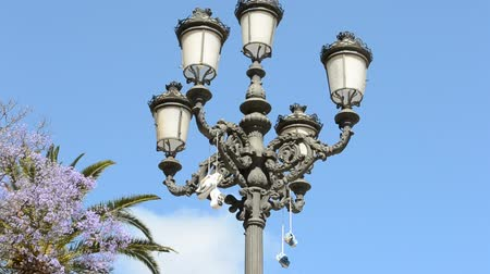 dangle : Sneakers hang on a lamp. City of Cadiz, Spain, Andalusia. Someone successfully threw. Cadiz. Stock Footage