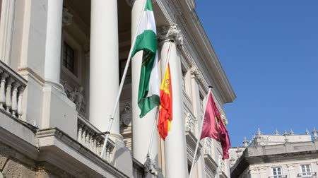 Кадис : Flags over the state building. City of Cadiz, Spain, Andalusia.