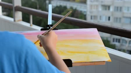 só : We draw watercolor paints. Stock Footage