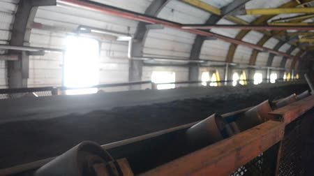 parke taşı : coal conveyor Stok Video
