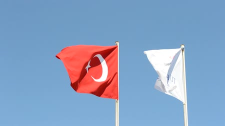 doména : Waving flag of Turkey under sunny blue sky