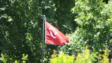 árbocszalag : Waving flag of Turkey under sunny blue sky