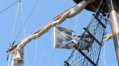 válečné loďstvo : Piracy flag on a ship mast.