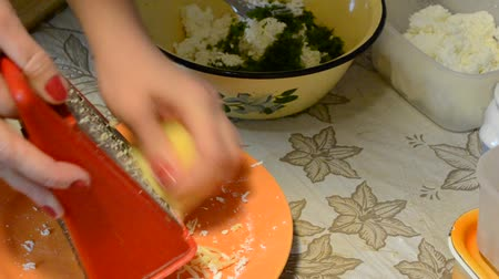 shredding : grating cheese Stock Footage