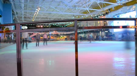 ice skating : People having fun in skating rink