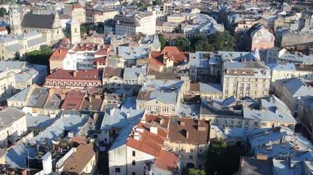 lviv : Top view in Lviv, Ukraine. Ancient houses in Lviv. Lviv, Ukraine. Stock Footage
