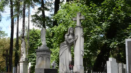 crypt : Graves on a cemetery. Lviv, Ukraine. Lychakovsky cemetery (polish. Cmentarz ?? yczakowski) ??? the historical and memorial memorial estate (since 1991), one of the oldest cemeteries of Ukraine.
