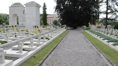 crypt : Polish military cemetery of the period of 1918-1920. Lviv, Ukraine. Lychakovsky cemetery (polish. Cmentarz ?? yczakowski) ??? the historical and memorial memorial estate (since 1991), one of the oldest cemeteries of Ukraine. Stock Footage