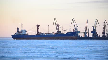ártico : Winter port. Cranes and the frozen sea