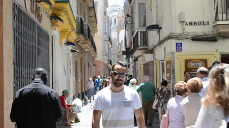 Андалусия : City of Cadiz, Spain, Andalusia. Streets of Cadiz Стоковые видеозаписи