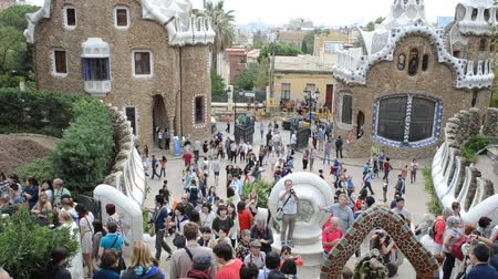 modernist : Park Guell, a municipal garden designed by Antoni Gaudi. Built in 1900 - 1914.