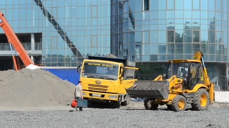 road construction : Process of construction of the railway station. Stock Footage