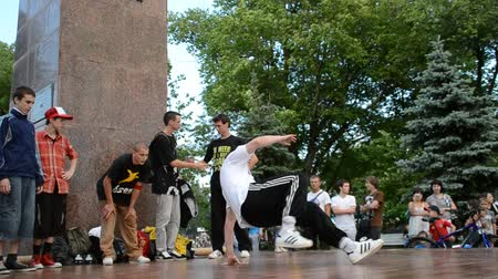 heup : break-dance Publieke verklaring over de stad Stockvideo