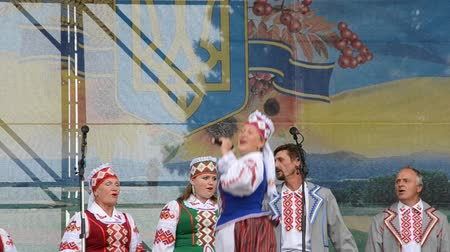 antikvitás : The song on the stage in the park. Stock mozgókép