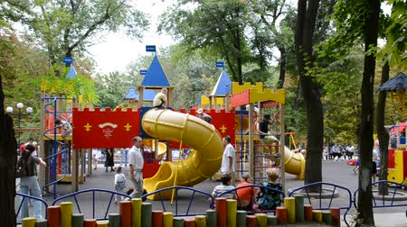 recess : Childrens playground. Shooting in the summer. Stock Footage