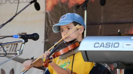 strum : Rock a concert. The boy plays a violin. Stock Footage