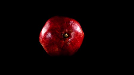 unpeeled : Pomegranate on a black background. Shooting in the movement.