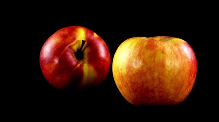 fruity garden : Apple on a black background. Shooting in the movement. Stock Footage