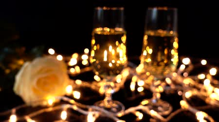 red wine : Bright garlands. Out of focus. Stock Footage