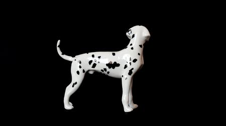 antiques : Shooting of a dog of a dalmatian. Shooting of a statuette.