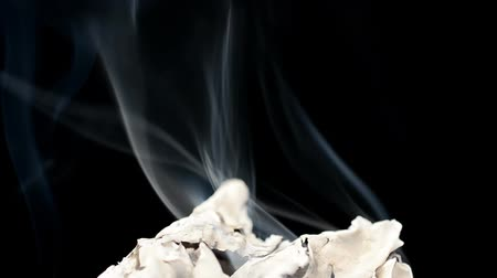 yanma : Fire burns on a black background. Paper burns Stok Video