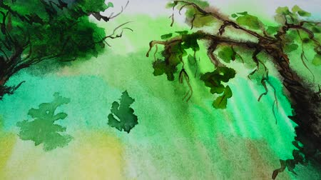 ambientalmente : Drawing of trees watercolor. Stock Footage