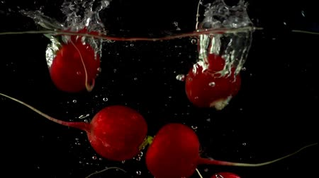feixes : Fruits of a garden radish fall in water. Slow motion.