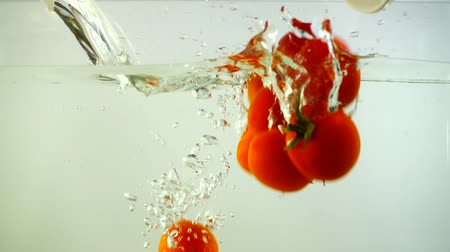 fejest ugrik : Cherry tomatoes fall in water. Slow motion. Stock mozgókép