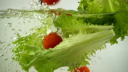 körítés : Lettuce leaves and cherry tomatoes fall in water. Slow motion.