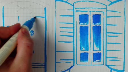 элементы : Draw a door and a window to the house. Time lapse.