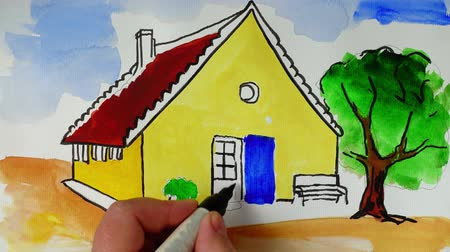 jardim : Draw house elements. Time lapse.