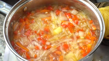 bolgár : Vegetable soup cooks in a pan. Stock mozgókép