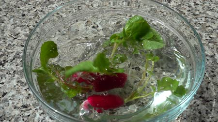 rabanete : Falling of fruits of a radish in a bowl with water. Slow motion.