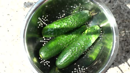 cuketa : Tossing of cucumbers in a colander. Slow motion.