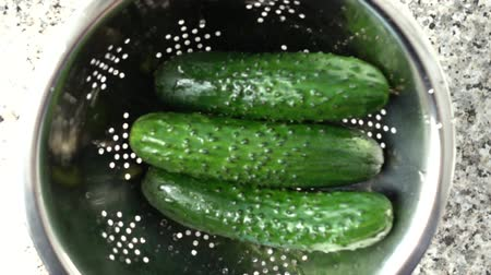 colander : Tossing of cucumbers in a colander. Slow motion.