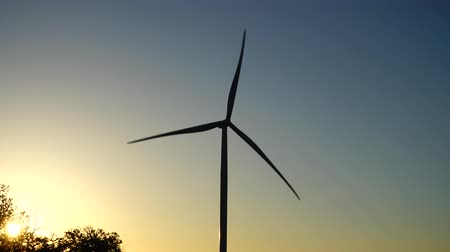 fenntartható : Wind farm. Wind turbine. Shooting at a sunset.