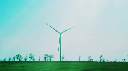 yenilenebilir : Wind farm. Wind turbine. Shooting of Time lapse. Stok Video
