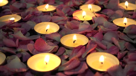 подсвечник : Roses and candles on a black background.