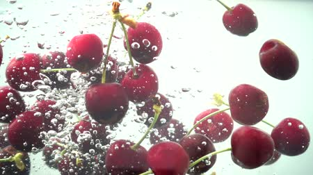 splashed : Falling of sweet cherry in water. Slow motion.