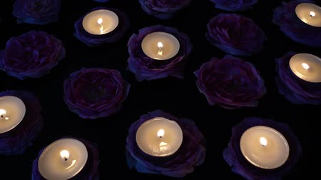 castiçal : Roses and candles on a black background.