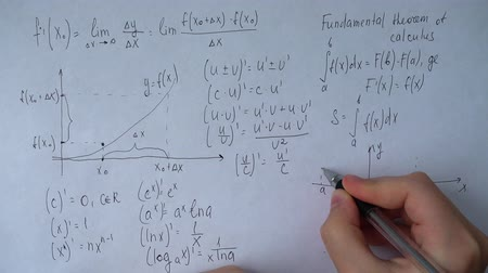 função : Writing of mathematical formulas on paper. Work of the mathematician.