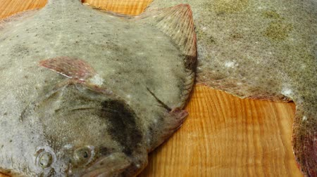 demersal : Fish of flatfish on a cutting board. Shooting in the movement.
