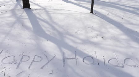 frase : Inscription of happy holidays on snow. Shooting in the winter.