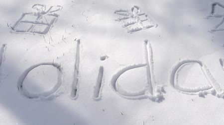 レタリング : Inscription of holidays on snow. Shooting in the winter.